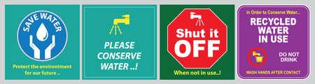 Conomisez le devis d'eau (protégez l'environnement pour notre avenir, fermez-le s'il vous plaît, conservez l'eau, l'eau recyclée utilisée, lavez-vous les mains après le contact). Banque d'images - 96758112