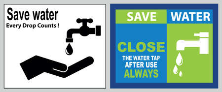 Save water quote (protect the environment for our future, shut if off, please conserve water, recycled water in use, wash hands after contact). Banque d'images - 96758114