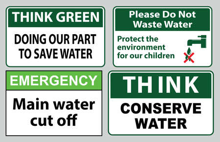 Save water quote (protect the environment for our future, shut if off, please conserve water, recycled water in use, wash hands after contact). Banque d'images - 96758119