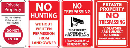 Set of Trespassing sign.