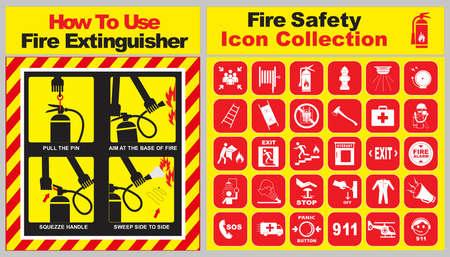 set di raccolta di icone di sicurezza antincendio e come utilizzare banner estintore. facile da modificare