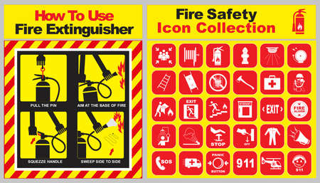 set of fire safety icon collection and how to use fire extinguisher banner. easy to modify Çizim