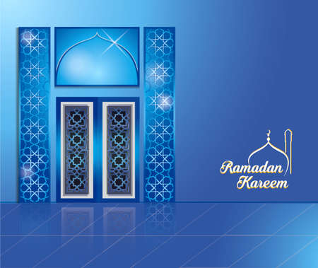 Ramadan kareem background or arabic background, illustration with door and arabic lanterns easy to modify