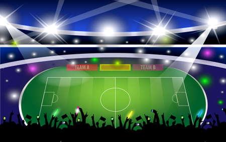 Public Buildings. Football Arena. World Cup Vector with silhouette people. easy to modify