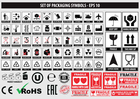 Set of packaging symbols, FCC,ROHS,tableware, plastic, fragile symbols, cardboard symbols.(this side up, handle with care, fragile, keep dry, keep away from direct sunlight, do not drop, do not litter  イラスト・ベクター素材
