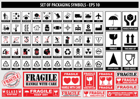 Set Of Packaging Symbols (this side up, handle with care, fragile, keep dry, keep away from direct sunlight, do not drop, do not litter, use only the trolley, use fifo system, max carton, recyclable) Illustration