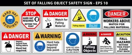 set of falling object hazard or hard hat safety sign. easy to modify Vectores