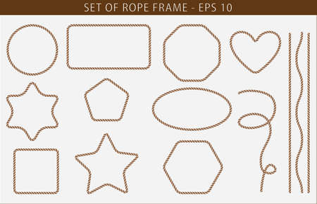 Set of seamless Rope frame with various shape. easy to modify