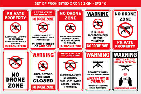 set of prohibited drone sign - easy to modify