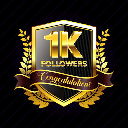 1K Followers gold ribbon, for banner, website, and other social media. easy to modify