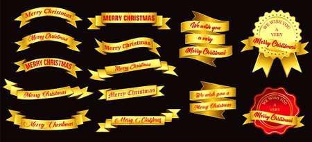set of christmas golden badges or golden ribbon. easy to modify