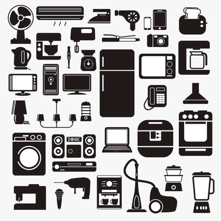 set of home appliance in monochrome style.