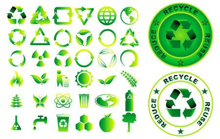 Satz von reduzieren Wiederverwendung Recycling-Element-Konzept. einfach zu ändern