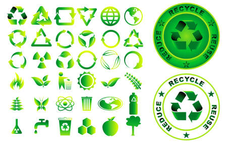 set of reduce reuse recycle element concept. easy to modify