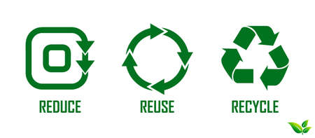 reduce reuse recycle concept. easy to modify Vectores