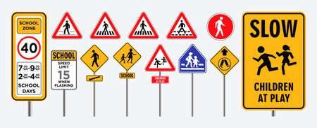 set of school zone street or pedestrian area. 일러스트