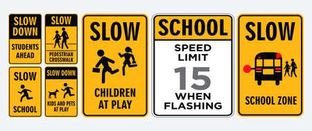 set of school zone street or pedestrian area. Illustration
