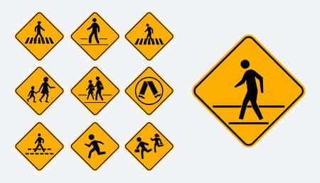 Set of pedestrian walk sign. easy to modify