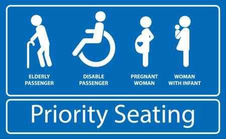 Aufkleber mit Vorrangsitz. Verwendung in öffentlichen Verkehrsmitteln wie Bus, Bahn, S-Bahn und anderen. einfach zu ändern