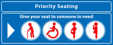 Priority seat sticker. using in public transportation, like bus, train, mass rapid transit and other. easy to modify