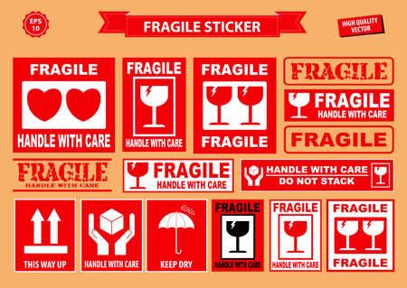 Set breekbare sticker. gebruiken op industriële, verpakkingsdivisie of andere vrachtindustrieën. gemakkelijk aan te passen