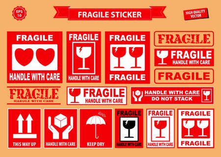 Set of fragile sticker. using on industrial, packaging division, or other cargo industries. easy to modify