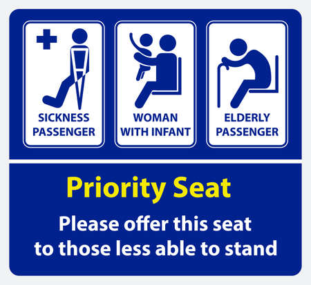 Adhesivo de asiento prioritario. usar en transporte público, como autobús, tren, tránsito rápido masivo y otros. fácil de modificar