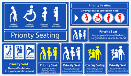 Naklejka z priorytetem miejsca. wykorzystanie w transporcie publicznym, takim jak autobus, pociąg, masowy szybki transport i inne. łatwe do modyfikacji