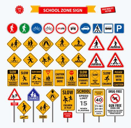 Zestaw strefy znaków szkolnych, strefy dla pieszych i innej strefy szkoły ulicznej. łatwe do modyfikacji Ilustracje wektorowe