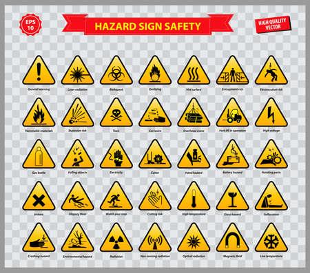 set of hazard sign safety.