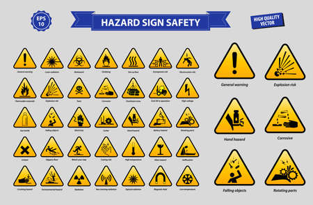 set of hazard sign safety Illustration