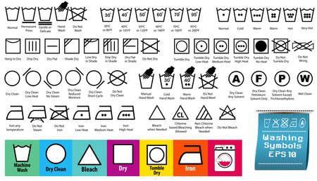set of fabric care or washing symbols or laundry symbols. easy to modify
