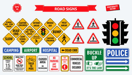 set of road sign. easy to modify