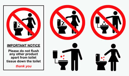 set of sanitary sign. easy to modify