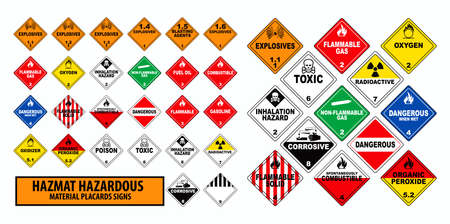 hazmat hazardous material placards sign concept. easy to modify Фото со стока - 114660229