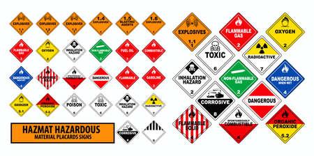 hazmat materiałów niebezpiecznych afisze znak koncepcja. łatwe do modyfikacji