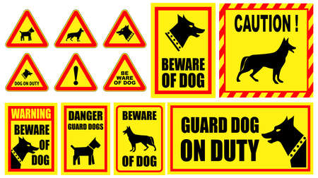 set of dog on guard. suitable to create sticker, or sign on fence. easy   to modify Banque d'images - 115591053