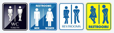 set of restroom placard sign. easy to modify