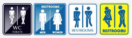 set toilet plakkaat teken. gemakkelijk aan te passen Vector Illustratie