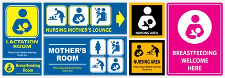 Satz Toilette, Pflegezimmer, Laktationsraum-Plakatschild. einfach zu ändern