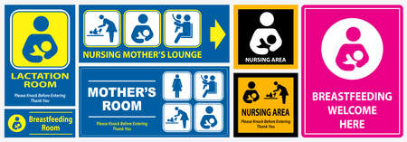 set of restroom, nursing room, lactation room placard sign. easy to modify