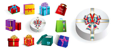 set of various realistic gift with ribbon. easy to modify 向量圖像