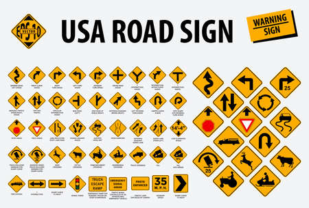 usa road sign - warning sign. easy to modify