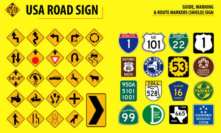 set of USA road sign.(GUIDE, WARNING & ROUTE MARKERS (SHIELD) SIGN). easy to modify