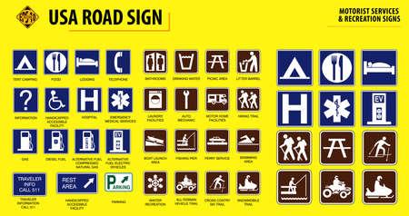 ensemble de panneaux de signalisation USA.(SERVICES AUTOMOBILES ET SIGNES DE LOISIRS). facile à modifier