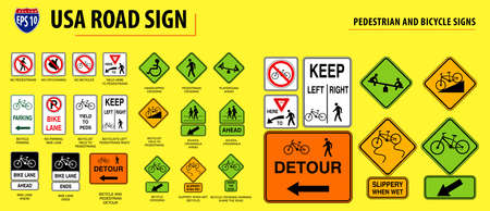 set of USA road sign.(PEDESTRIAN AND BICYCLE SIGNS). easy to modify Stok Fotoğraf - 116471513