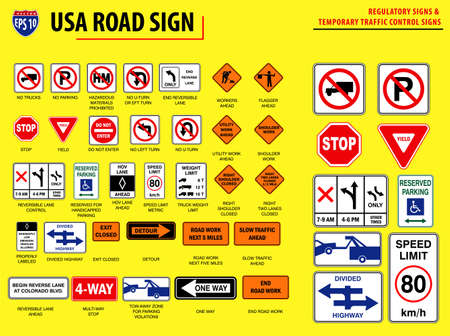 set of USA road sign.(REGULATORY SIGNS & TEMPORARY TRAFFIC CONTROL SIGNS). easy to modify Vetores