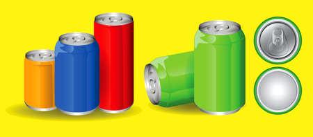 set of drinking soda water in aluminium can. easy to modify Vektorové ilustrace