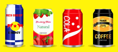 set of drinking soda water in aluminium can. easy to modify Illustration