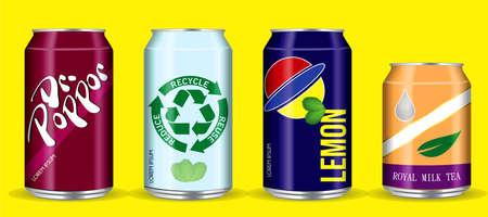 set of drinking soda water in aluminium can. easy to modify Ilustração